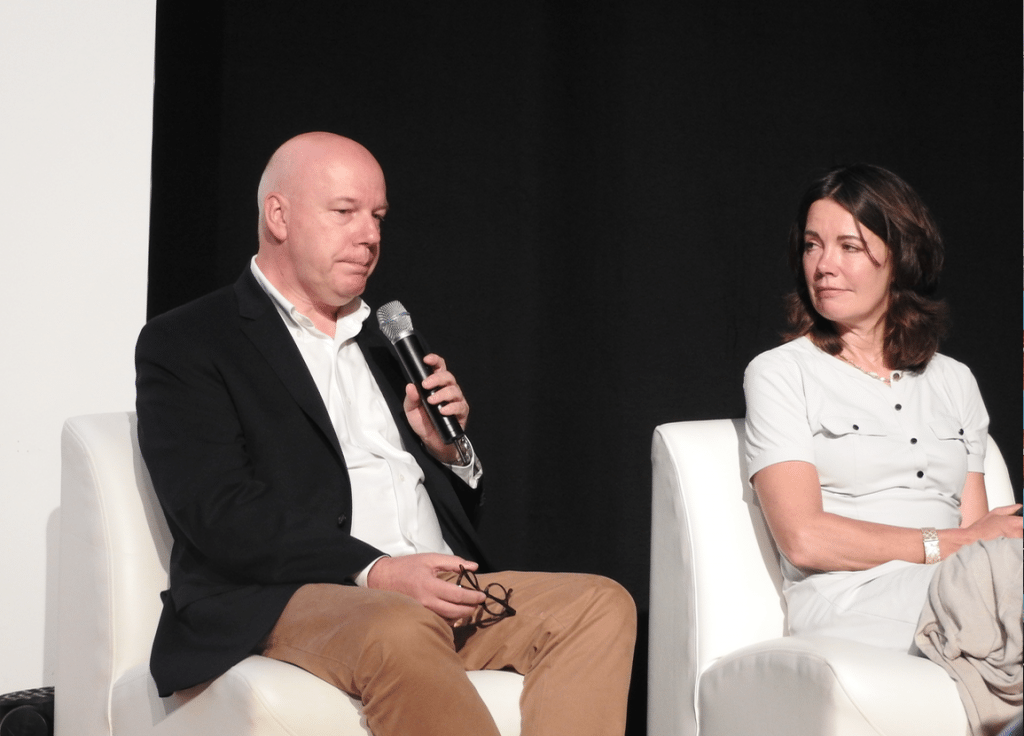 Eddy Duquenne, CEO, Kinepolis and Dertje Meijer, CEO, Pathé Netherlands on 'Women in Cinema' panel at CineEurope. (photo: Patrick von Sychowski - Celluloid Junkie)