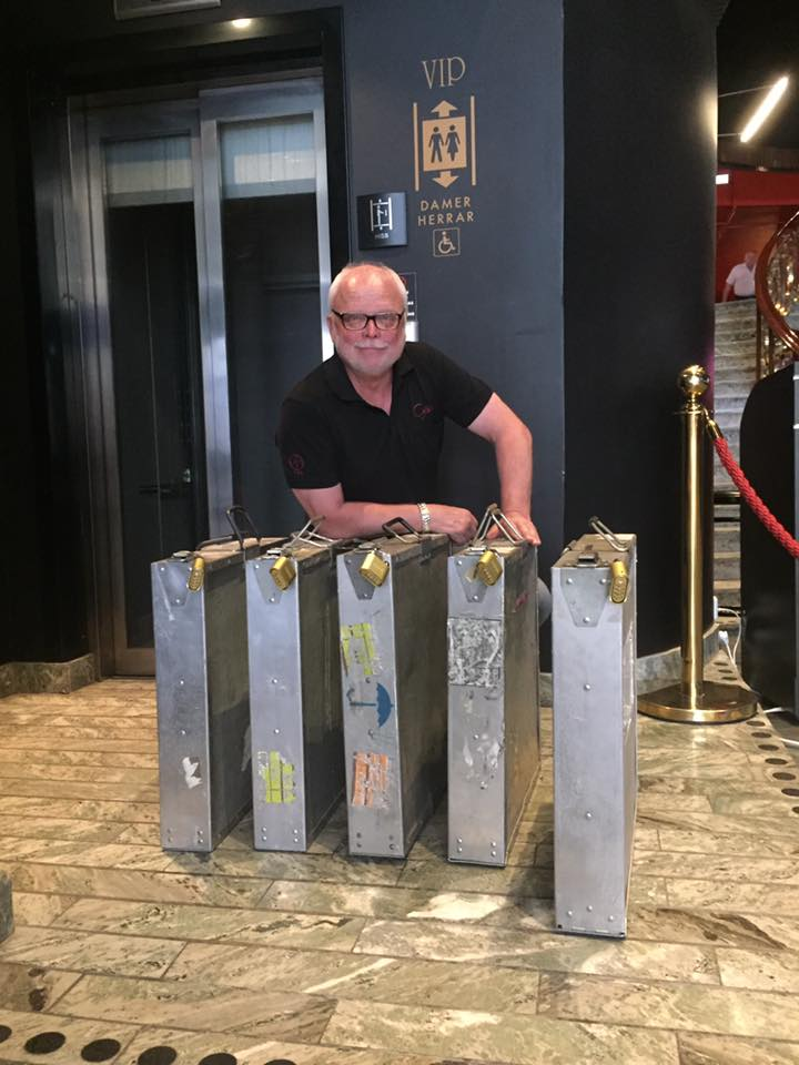 "Mats Kullander with 70mm copy of ""Dunkirk"" showing at Stockholm's Rigoletto. (photo: Facebook)"