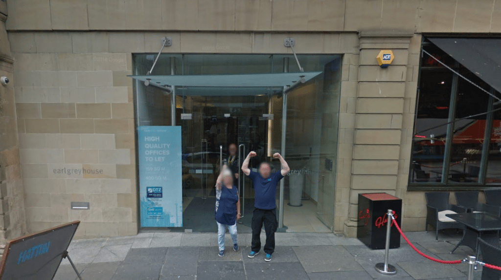 Earl Grey House, with Newcastle locals in front. (image: Google Earth)