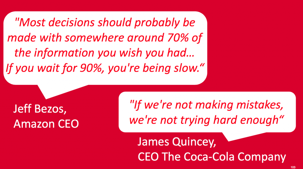 Jeff Bezos and James Quincey quotes. (slide: Coca-Cola)