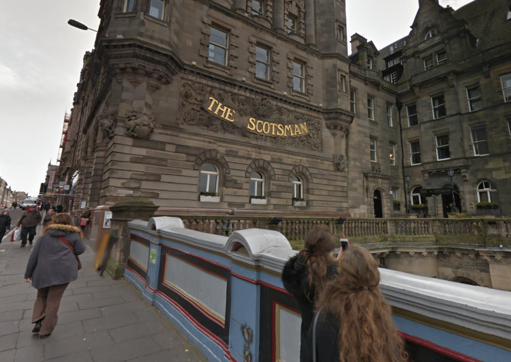 The Scotsman Hotel Edinburgh. (image: Google Earth)