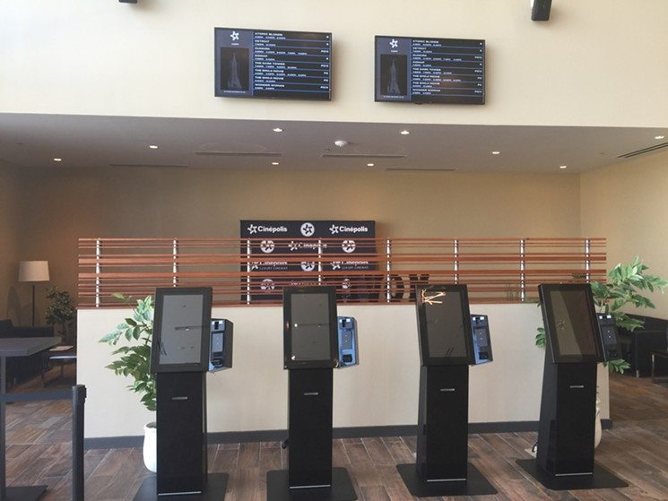 Cinepolis Euless lobby kiosks. (photo: Danny Gallagher / Dallas Observer)