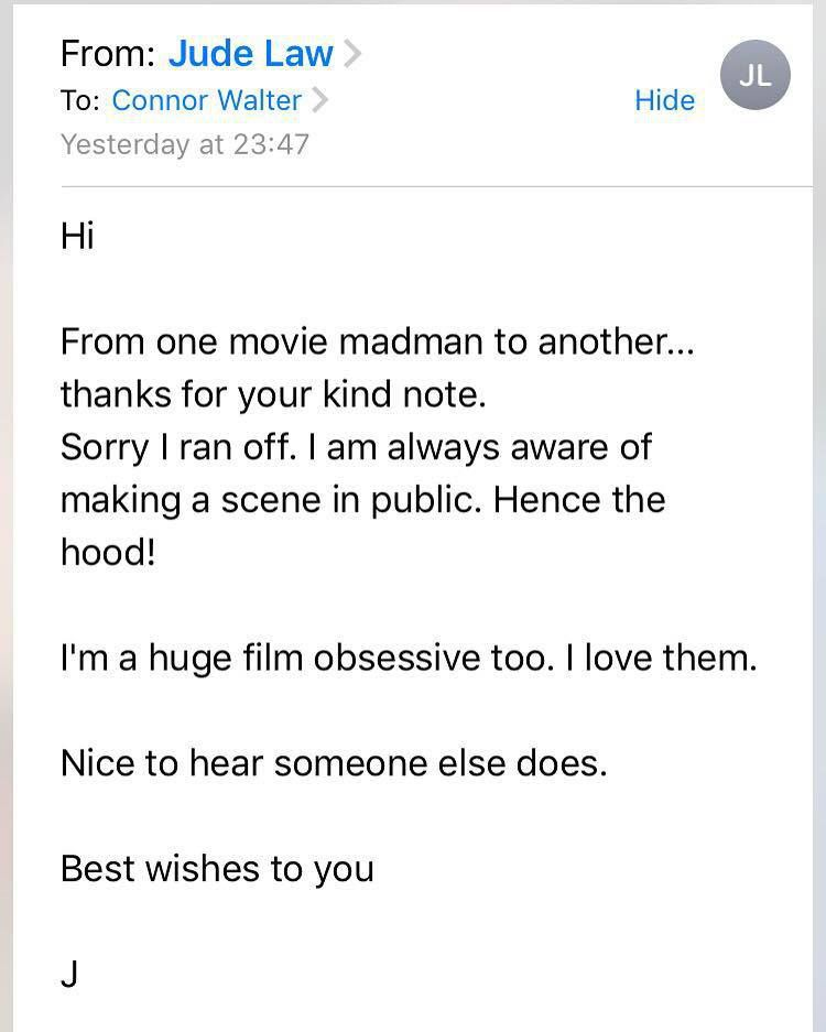 Jude Law email Odeon