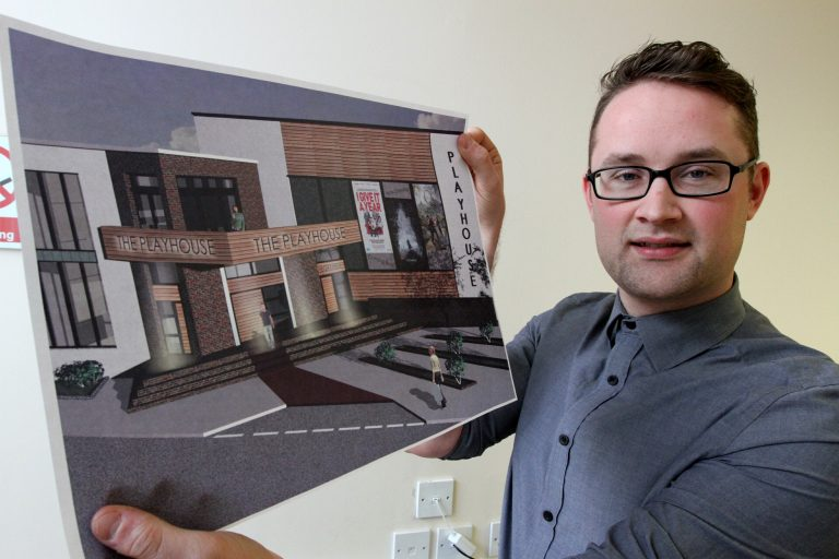 Architect David Patton with plans for The Playhouse in montrose. (photo: The Courier)