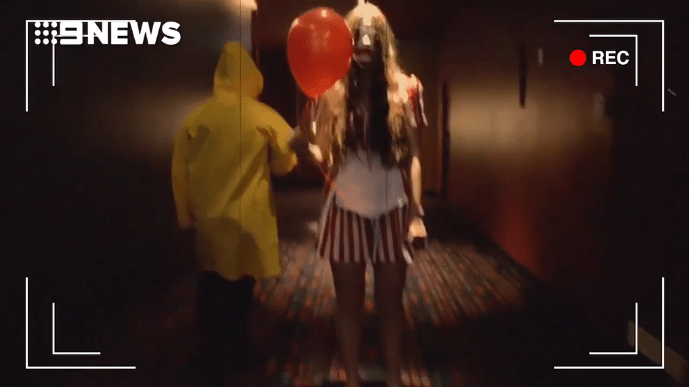 Send in the clowns at Even Cinema. (screen grab: 9News)