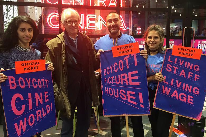 Director Ken Loach supports striking Picturehouse staff. (photo: BECTU)