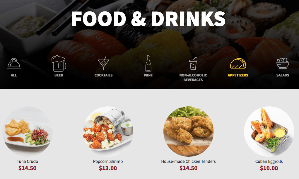 CMF food & drinks menu. (image: CMX website)