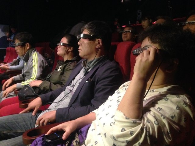 Smart glasses AR demo at movie theater in Sinsa-dong, Gangnam-gu, Seoul. (photo: Hani)