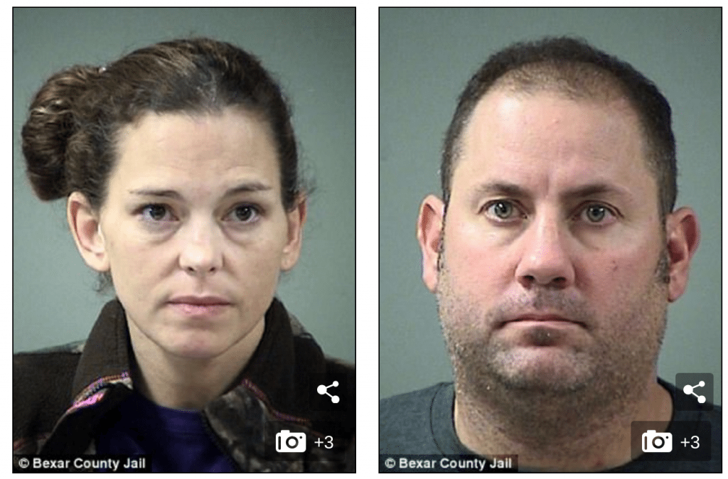 Couple arrested for sex in cinemas. (photos: Bexar County Jail)