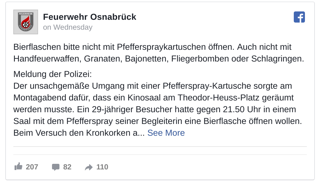 Osnabrück fire services advises not to use pepper spray to open beer bottles - or bayonets, guns or grenades. (image: Facebook)