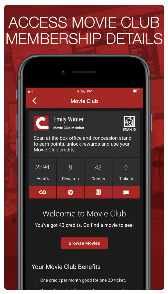 Cinemark MovieClup Mobile App
