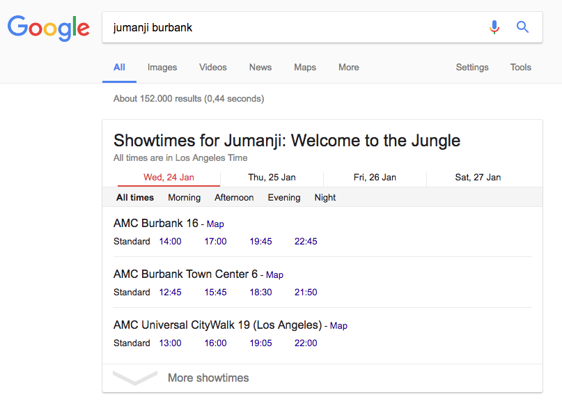 "Google listings for ""Jumanji"""