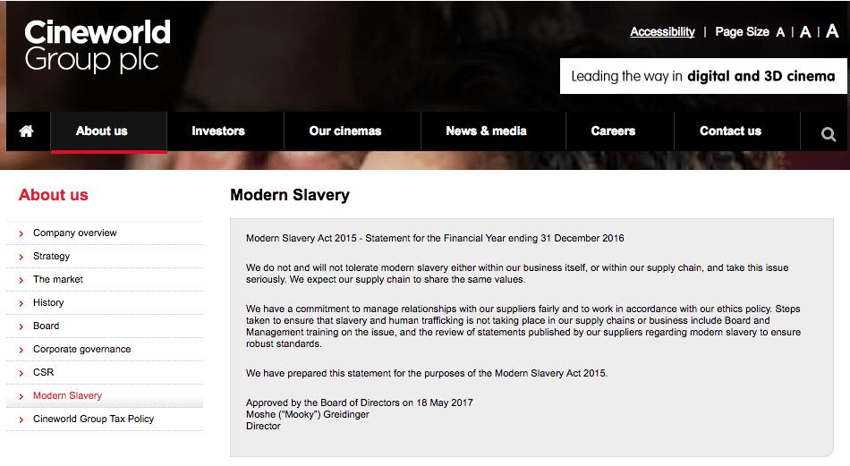 "Cineworld ""will not tolerate modern slavery"". (image: cineworld website)"