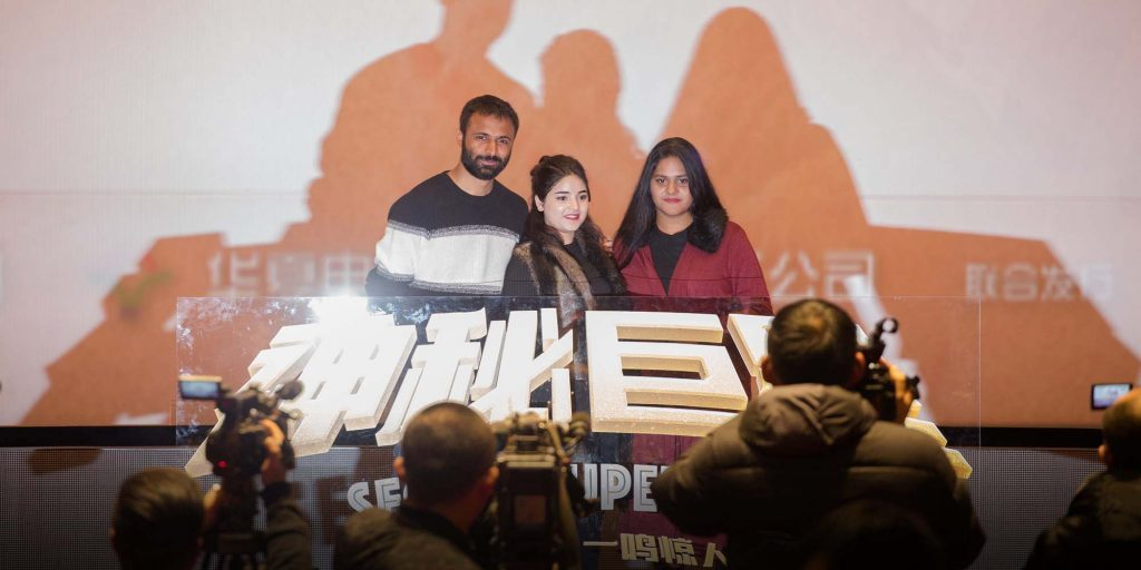 "Cast and crew of ""Secret Superstar"" at promotional event. (photo: Shi Yangkun/Sixth Tone)"