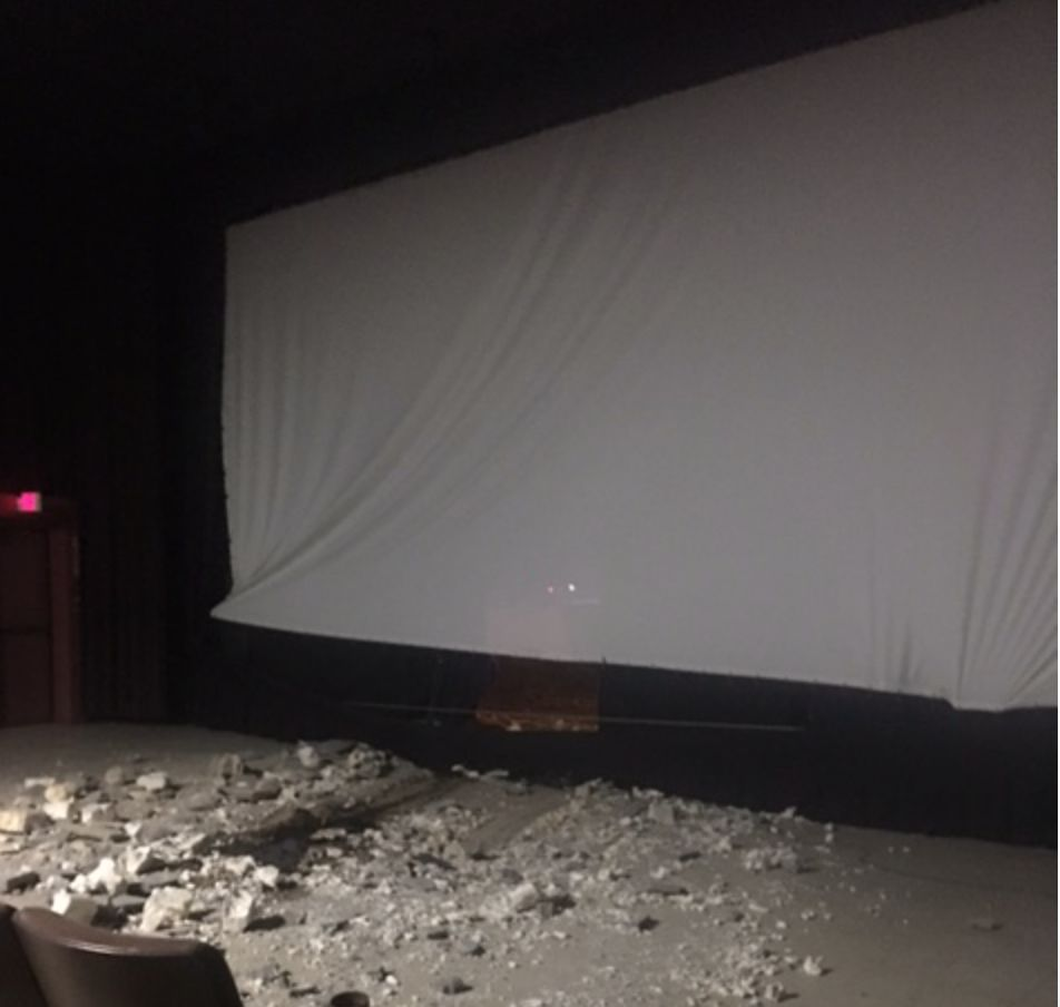 Cinema damage. (photo: Daniel Kleeberg / News & Record)