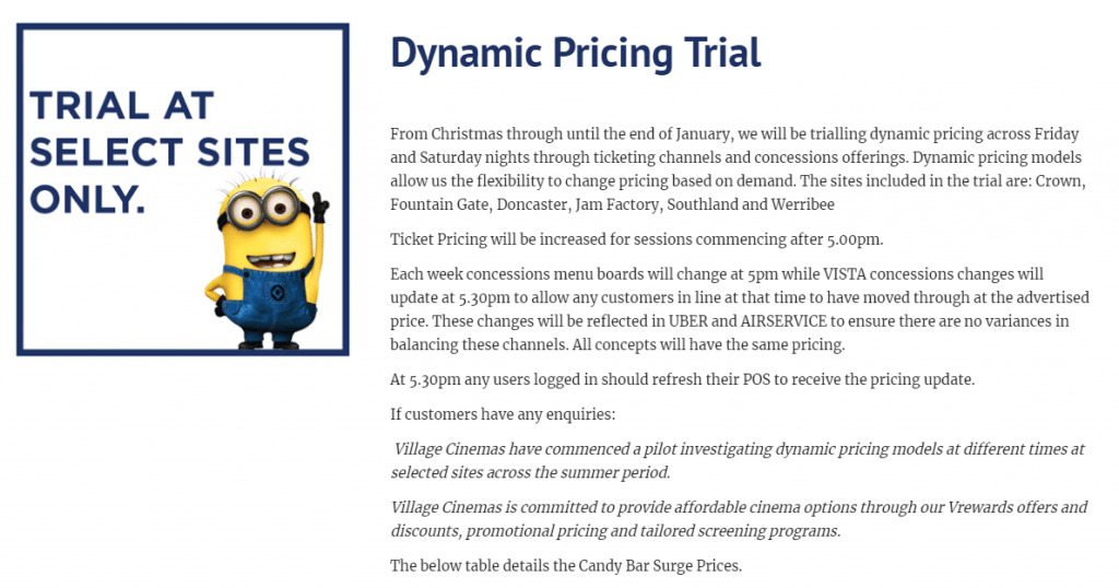 Alleged internal Village Cinemas 'dynamic pricing' document. (image: reddit)