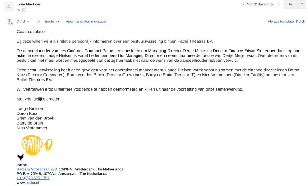 Email sent from Pathe Netherlands 30 March.
