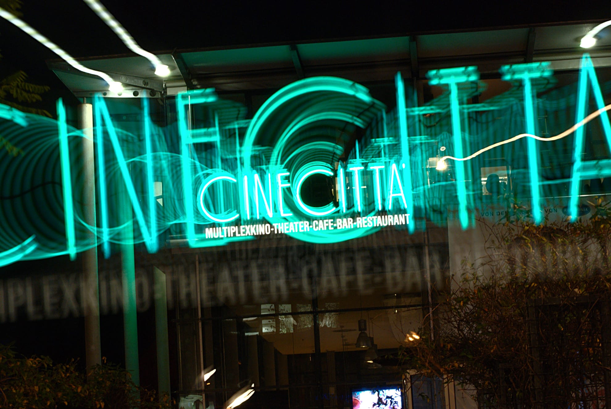 The Green Neon Sign outside the Cinecittà in Nuremberg, Germany