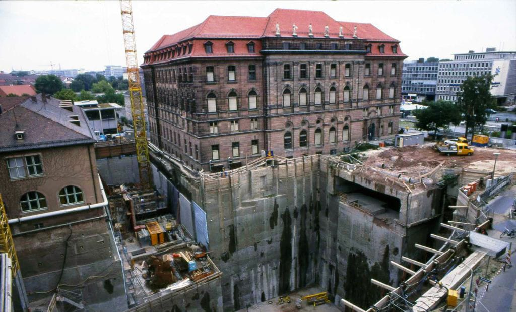 Construction of the Cinecittà in Nuremberg, Germany