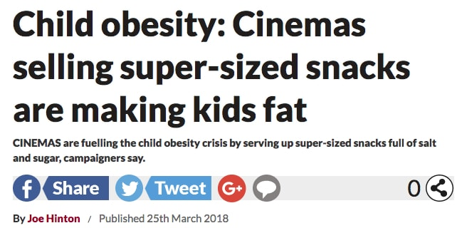 Do Cinemas Cause Childhood Obestiyy. (image: Daily Star website)