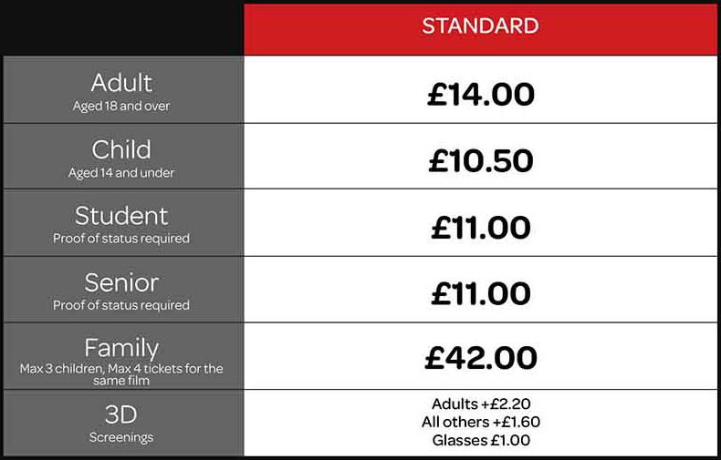 Cineworld Fulham Road Pricing