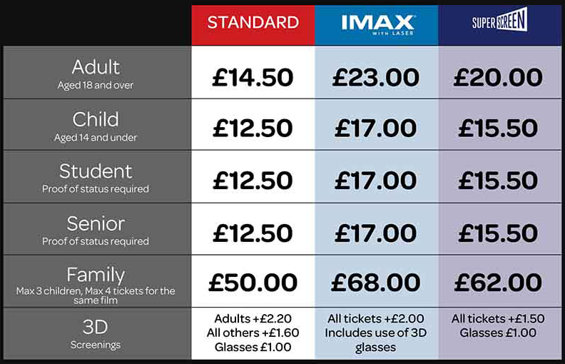 Cineworld Leicester Pricing