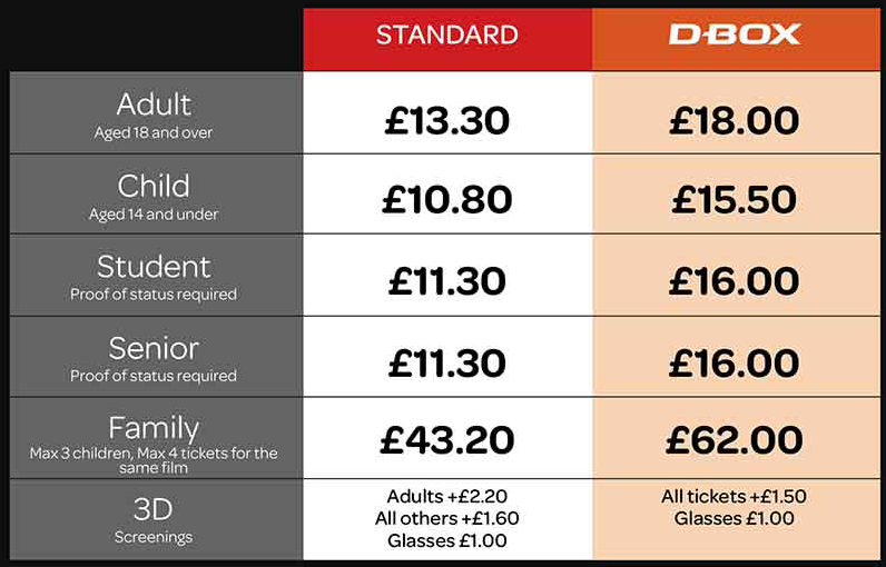 Cineworld Webley Pricing