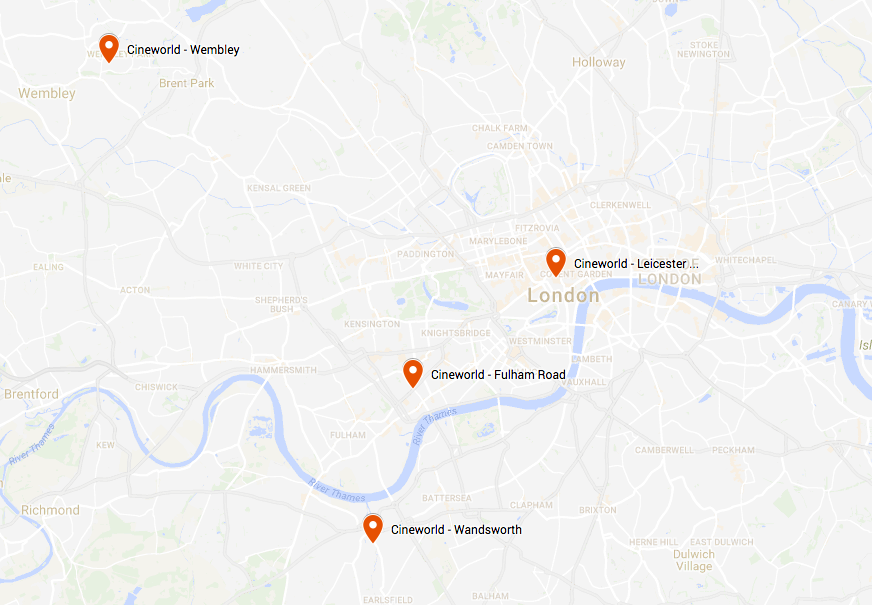 Cineworld's London Locations