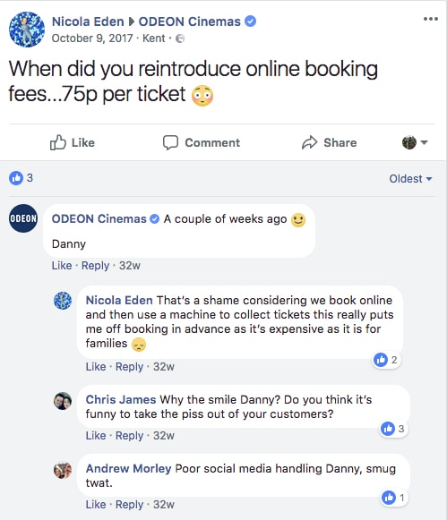 Odeon online ticketing fee. (image: Facebook)