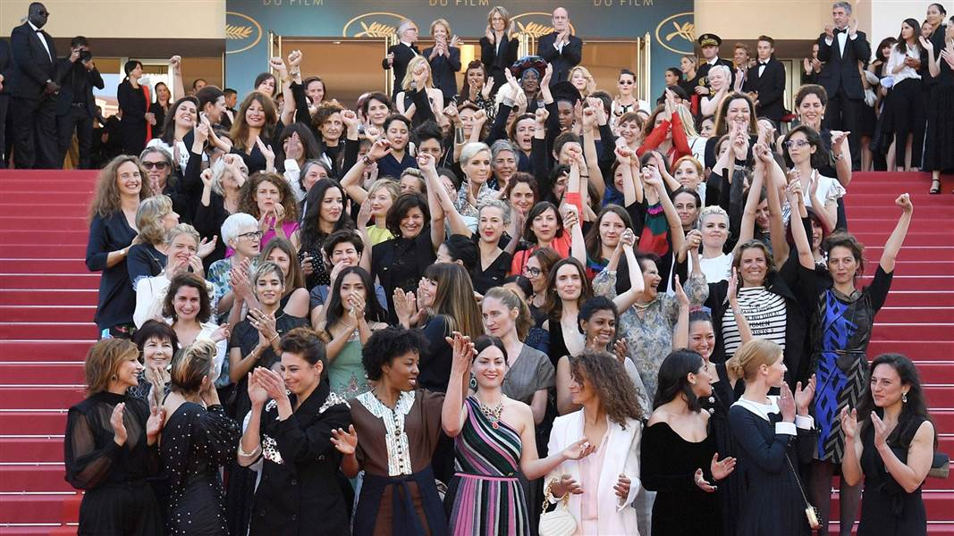 2018 Cannes Film Festival Red Carpet Women Protest