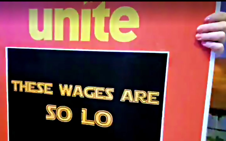 UNITE union protests outside Hoyts in New Zealand. (photo: RNZ)