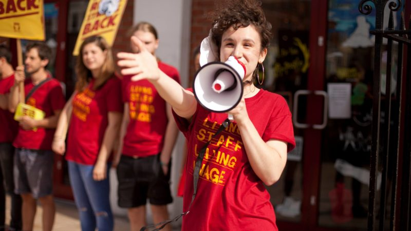 Striking Picturehouse workers. (photo: Left Foot Forward)
