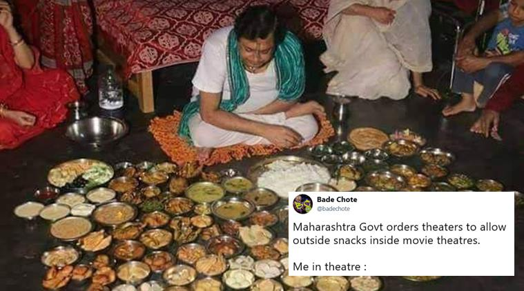 Outside food allowed in Indian multiplexes. (image: Twitter/Indian Express)