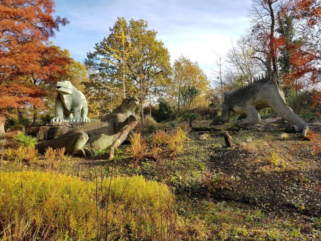 The Victorian Jurassic Park - Crystal Palace park's dinosaur sculptures. (photo: Patrick von Sychowski / Celluloid Junkie)