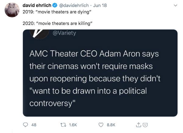 David Ehrlich's Tweet About AMC's Mask Decision